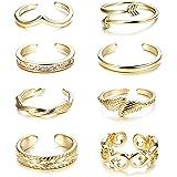 Finrezio 8 Stück Zehenringe für Frauen Mädchen Einstellbare Open Ring Offen Fuß Vintage Silber/Gold/Rosegold
