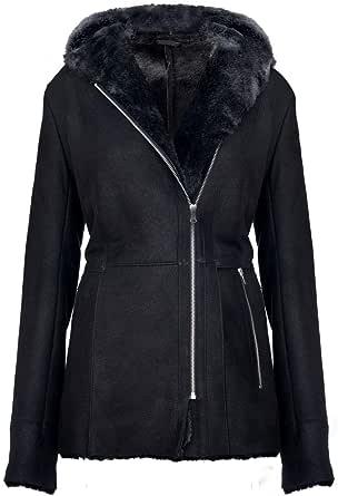 Infinity Leather Cappotto da Donna Elegante in Pelle di Montone Scamosciato con Montone con Cappuccio Snowtip Nero