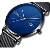 Attractionz Date & Time Analog Black Dial Blue Shade Dual Tone Glass On Dial Men Watch -Balck CRR_12