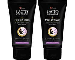 Lacto Calamine Face Peel Off Mask with Activated Charcoal and Vitamin E for deep pore cleansing, removing blackheads and whit