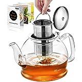 Theiere, Theiere Verre avec Infuseur Amovible en Acier Inoxydable, Pots à thé 1200ml pour thé en Vrac, Théière en Verre Boros