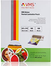 VMS Deluxe Thermal Laminating Pouch A4 Film 100 Microns (100 Lamination Pouch) (225 x 310 mm) for A4 Size Lamination
