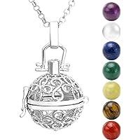 Jovivi - Collana con ciondolo in argento, ali + 7 pietre chakra naturali, tibetane, buddiste, rotonde