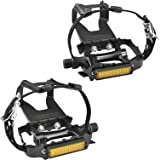 SEQI Bike Pedals with Clips and Straps, for Spin Bike, Exercise Bike and Outdoor Bicycles, 9/16-Inch Spindle Resin/Alloy Bicy