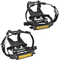 SEQI Bike Pedals with Clips and Straps, for Spin Bike, Exercise Bike and Outdoor Bicycles, 9/16-Inch Spindle Resin/Alloy…