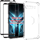 EasyLifeGo for Asus ROG Phone 3 ZS661KS Case with Tempered Glass (2 Pieces) Slim Shock Absorption TPU Soft Edge Bumper with R