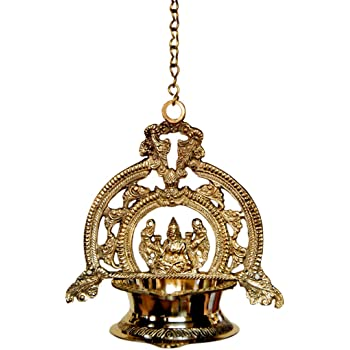 AKP Brass Hanging Gaja Laxmi Lamp with Chain