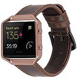 iBazal Leren armband, compatibel met Fitbit Versa/Versa 2/Versa Lite, leren horlogeband, reservearmband, horlogeband, vervang
