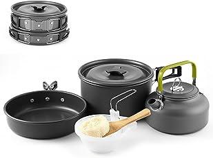 Camping Kochgeschirr Set 2-3 Personen Camping-Kochtopf Set aus Edelstah 10 tlg Kochausrüstung für Outdoor Wandern Picknick | FDA Genehmigte Topf & Pfanne aus Aluminium und Edelstahl | faltbare (Stil 1)