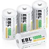 EBL D Size 10000mAh Ni-MH Rechargeable Batteries, Pack of 4