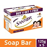 Santoor Sandal and Almond Milk Soap (Buy 4 Get 1 Free 125g each)