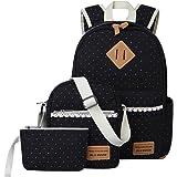 Escuela Mochila Canvas Backpack Casual Set Mochilas/Rucksack + Bolso del Mensajero + Monedero (Encaje Negro)