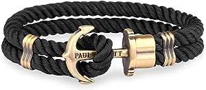Paul Hewitt Bracciale Uomo con Ancora PHREP - Bracciale Uomo Ancora in Nylon (Nero), Bracciale Uomo Marinaro con Ciondolo Ancora in Acciaio (Ottone)
