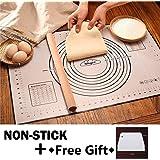 Nifogo Tapis de Cuisson Patisserie en Silicone Anti-adhésif Réutilisable Baking Mat Fondant Pâte, 100% sans Bisphénol-A (BPA)