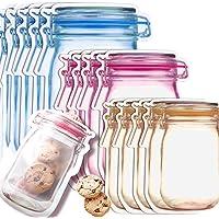 Mason Jar Plastique, Sac de Pot Mason, Sacs de Rangement Réutilisables de Joint Hermétique pour l'organisation de la…