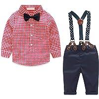Yilaku Bimbo Neonato Completini e Coordinati Gentiluomo 4 Pezzi Camicia con Fiocco+Bretelle+Pantaloni Suit Formali…