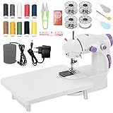 Mini Maquina de Coser Portatil con Kit de Costura y Mesa Extensible con Luz, Maquina Coser para Niñas, Principantes y Experim