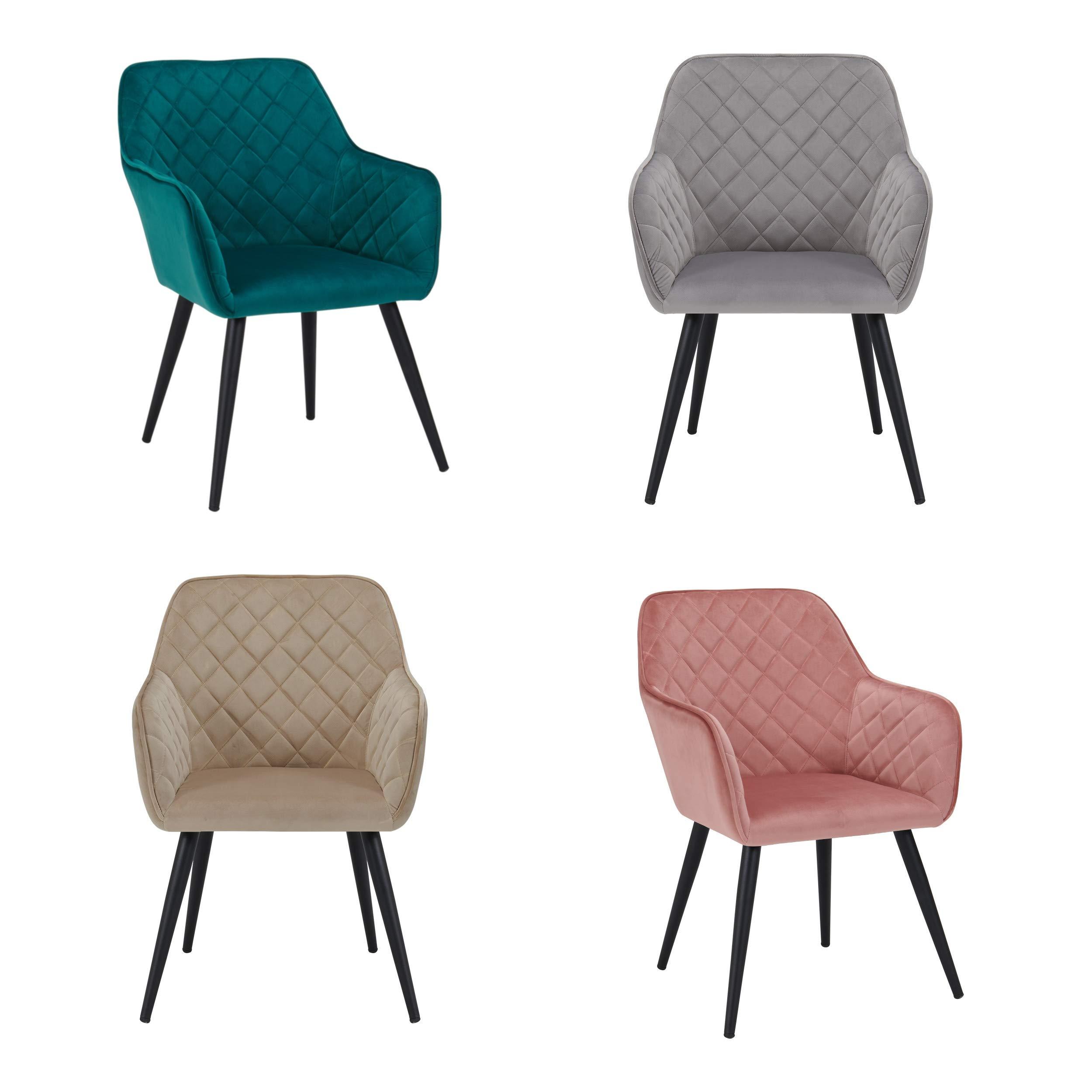 Esszimmerstuhl Stuhl Design Sessel StoffsamtFarbauswahl 8058Samtmöbel Mit Armlehnstuhl Aus Duhome Metallbeine Retro Rückenlehne m8vNn0w