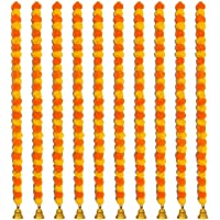 JE HOME DECOR ARTIFICIAL MARIGOLD FLUFFY FLOWERS GARLAND WITH BELL - PACK OF 10 GARLAND (EACH 5 FEET) YELLOW & ORANGE…