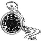 Lancardo Reloj de Bolsillo Retro con Cadena de Suéter Corta Fina Reloj de Cuarzo Caja Dial con Escala de Tiras Números Romano