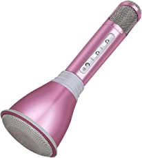 TOSING K068 Wireless Karaoke Mikrofone Bluetooth Lautsprecher Portable KTV Player Mini Home KTV Musik spielen und singen Maschine System für iPhone/Android Smartphone/Tablet (pink)
