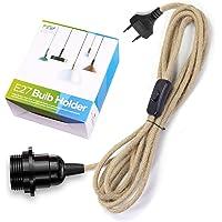 Douille de lampe E27 avec câble et interrupteur, douille E27 vintage avec câble textile de 4,5 m, suspension avec fiche…