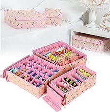 Shag High Quality Storage Box/Drawer Organizer for Innerwear, Clothing organizer , Underwear organizer , Bra organizer , Socks organizer , Tie organizer, etc (Set of 3)-Beige