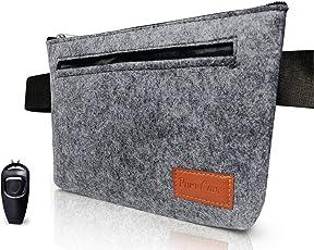 PurrCave Premium Leckerli-Tasche | Futterbeutel in grauem Filz | Stylische Futtertasche für Hundetraining und Ausbildung | Mit gratis Hunde-Clicker und mit integrierter Pfeife