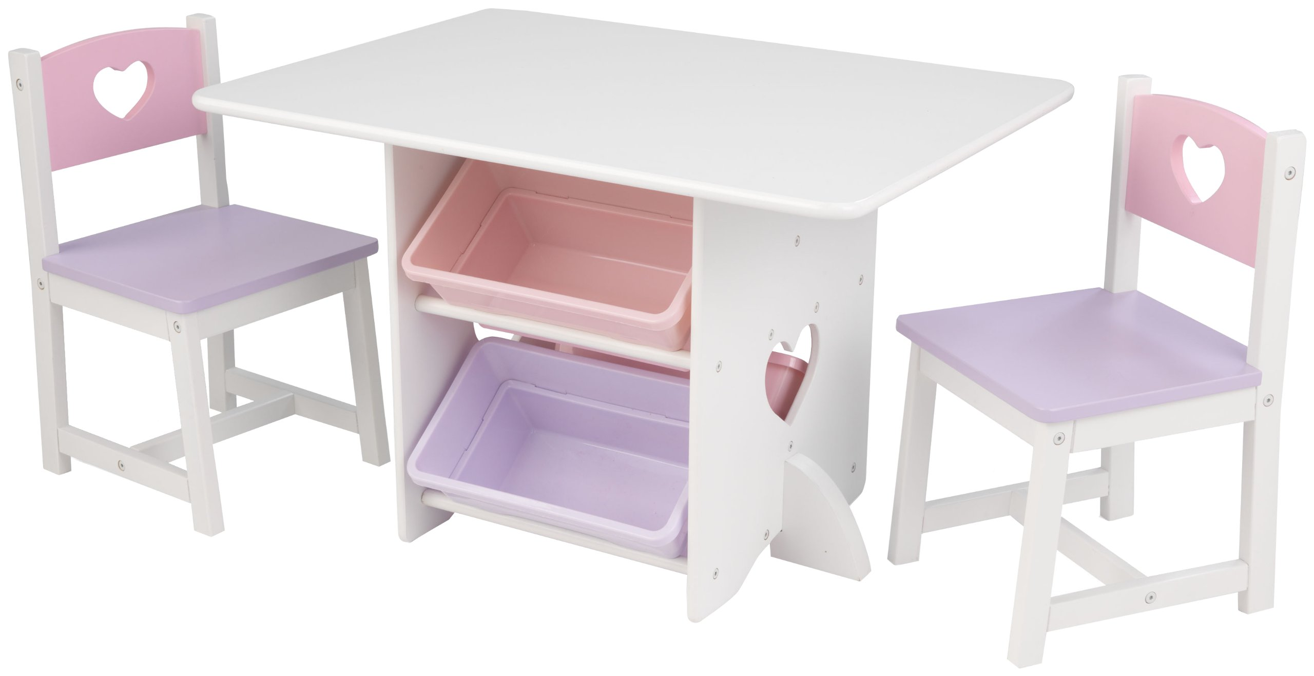 Phenomenal Kidkraft 26913 Heart Wooden Table 2 Chair Set With Storage Bins Kids Childrens Playroom Bedroom Furniture White Pastel Best Image Libraries Barepthycampuscom