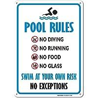 Pool Sign - Swimming Pool Rule Aluminum Metal Sign Large 6 X 9 Inch