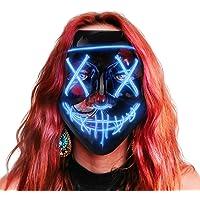 AnanBros Halloween Maske, LED Purge Maske im Dunkeln Leuchtend, Halloween Purge Maske 3 Beleuchtungsmodi für…
