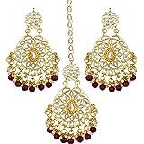 Spargz Designer Gold Plated Kundan & Pearl Dangle Earring with Maangtikka for Women AITE_003