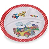 HMI Cartoon Character 3 Section Round Melamine Plate for Kids (Noddy, 4 Ounce)