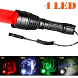 Odepro KL41 Plus LED-Taschenlampe mit Rotlicht Grünlicht Weißlicht IR850 Licht und Kabelfernbedienung