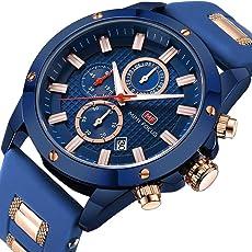 FOVICN Herren-Armbanduhr Sport Chronograph Analoges Quarzwerk mit Kunststoffarmband Business Fashion Wasserdicht Herren Uhren