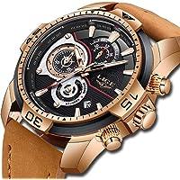 LIGE Hommes Montres Militaire Imperméable Sport Quartz analogique Regarder Gents Chronographe Date Calendrier Cuir Marron Montre-Bracelet