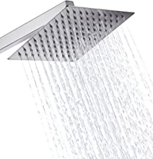 """Kitschtm Ultra Thin Ss Square 200Mm (8"""" X 8"""" Approx.) Hi Gloss Mirror Polish Rain Shower Head Without Shower Arm"""