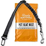 Pet Seat Belt Restraint By Simply Natural – Bungee Buffer 70-80cm Dog Seatbelt for Car with Compatible Pet Seatbelt Clip