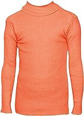 IndiWeaves Girls Orange Wollen Warm High Neck Full Sleeves T-Shirt/Inner/Skivvy for Winter