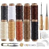 Agoer Kit de couture pour cuir - [10 couleurs + 23 outils] Fil ciré à coudre 300 mètres de fil ciré pour le travail du cuir,