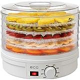ECG SO 375 250 W för torkning av frukt, grönsaker, örter, kött och andra livsmedel, samt fem fack 32 cm, kontinuerlig tempera