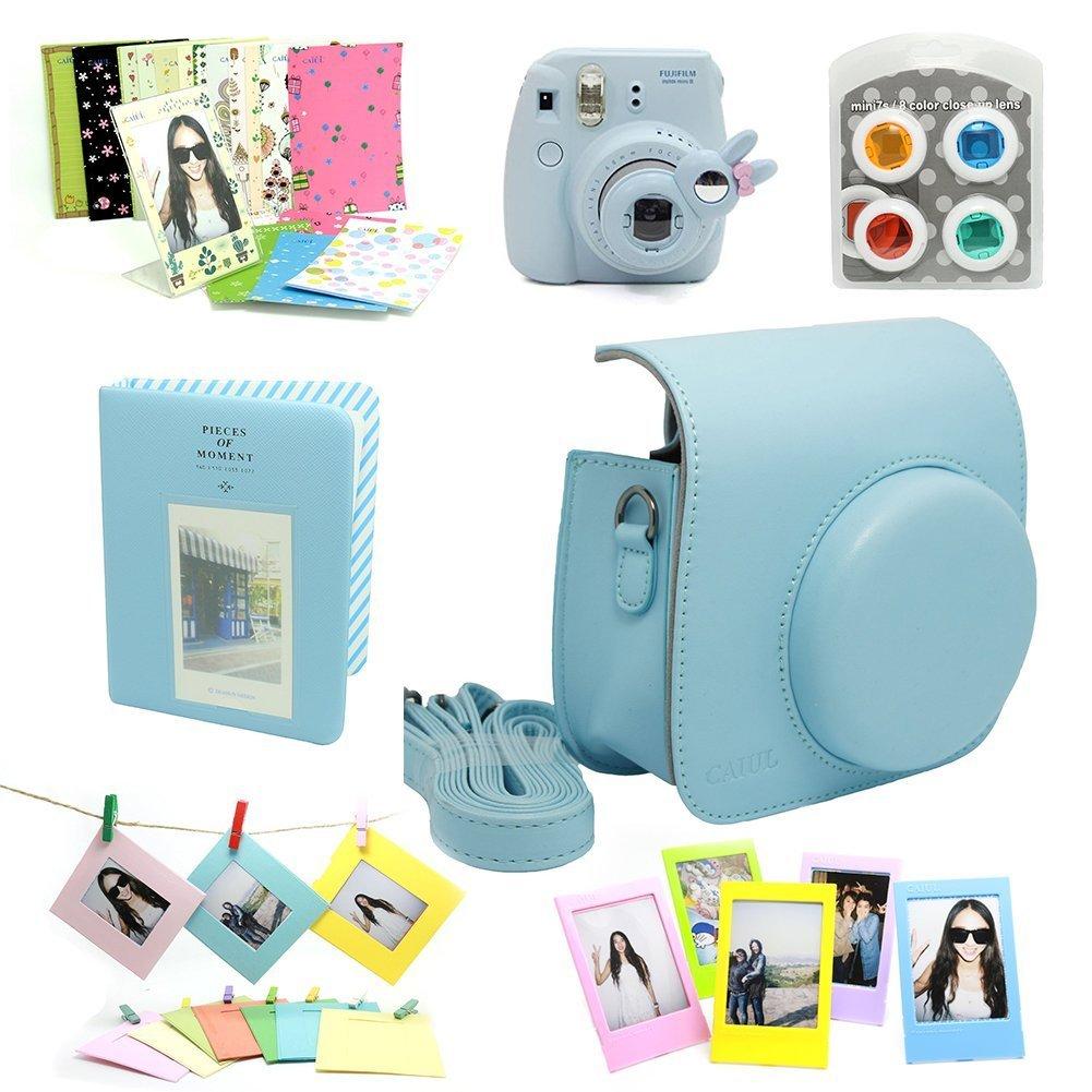 camera accessories bundles blue instax mini 8 case mini album close up selfie lenscolors close up lens wall hang framesfilm frame film stickers