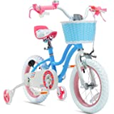 RoyalBaby Girls Kids Bike Stargirl 12 14 16 18 Inch Bicycle 3-9 Years Old Basket Training Wheels Kickstand Pink Blue Child's