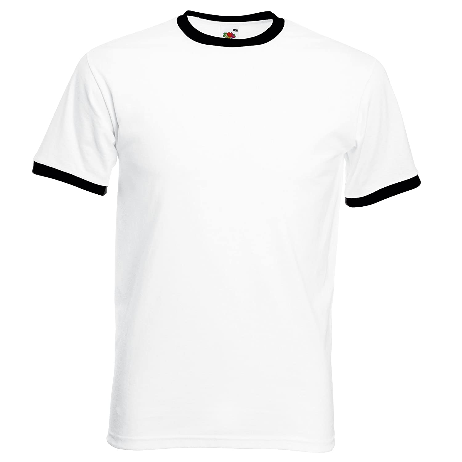 T shirt white black - Fruit Of The Loom Contrast Ringer T Shirt T Shirt Tee Shirt Amazon Co Uk Clothing