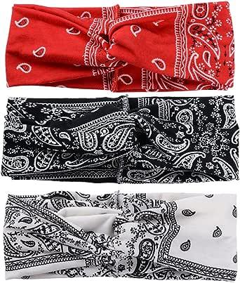 SERWOO Stirnband Damen Kopfband Haarband Turban Elastische Weiche Stirnband Blume Muster bedruckt Verdreht Baumwolle für Alltag Yoga Sport Fitness