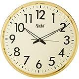 Ajanta Quartz Wall Clock (32 cm x 32 cm x 3.5 cm, Gold)