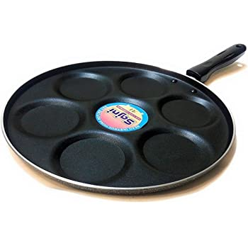 Sajni Non Stick Mini Uttapam Omlette Pancake Pan, 3-Pieces, Black
