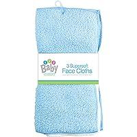 New 3 Pack Super Soft Baby FACE Hand Cloths Bath Flannel Wash Towel Wipe Feeding (Blue & White)