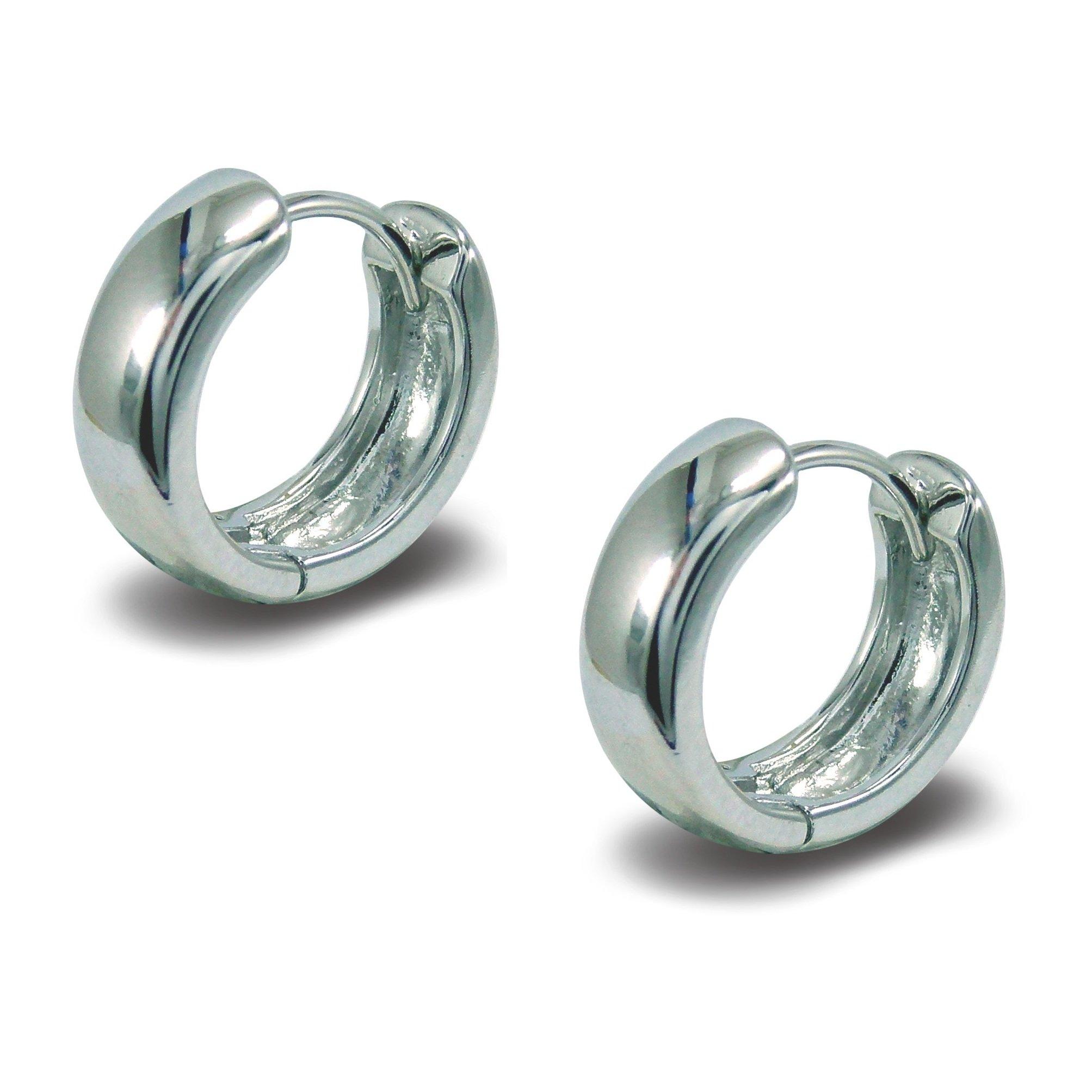 Blue Diamond Club – 18ct White Gold Filled Hoop Earrings Mens or Womens (Pair)