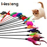 Westeng Lot de 4 plumeaux avec clochettes pour chat Couleur aléatoire